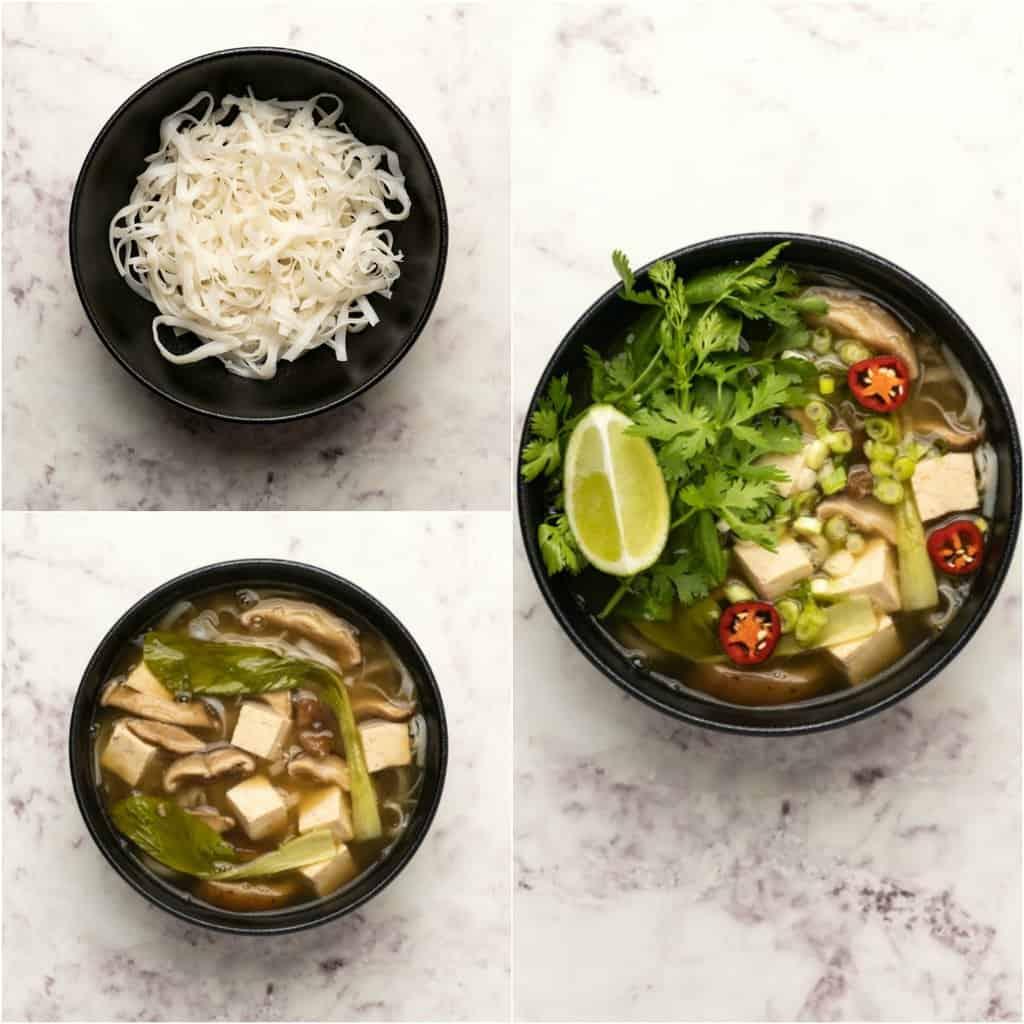 Assembling vegan pho in a black bowl.