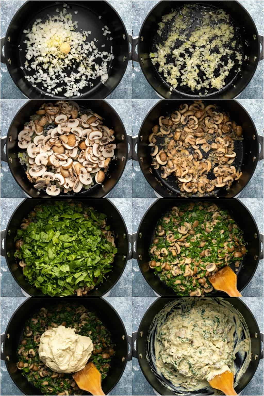 Step by step process photo collage of making the filling for a vegan quiche.