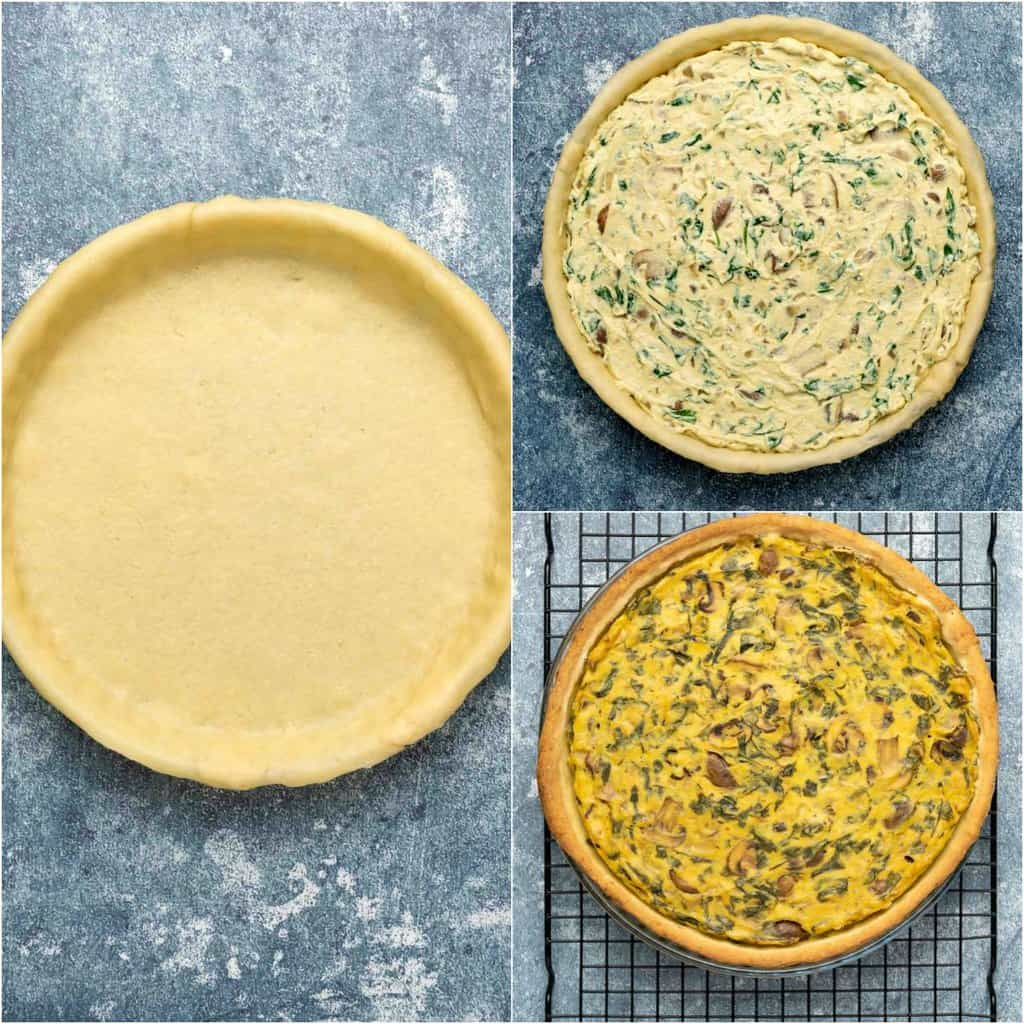 Step by step photo collage of assembling a vegan quiche.