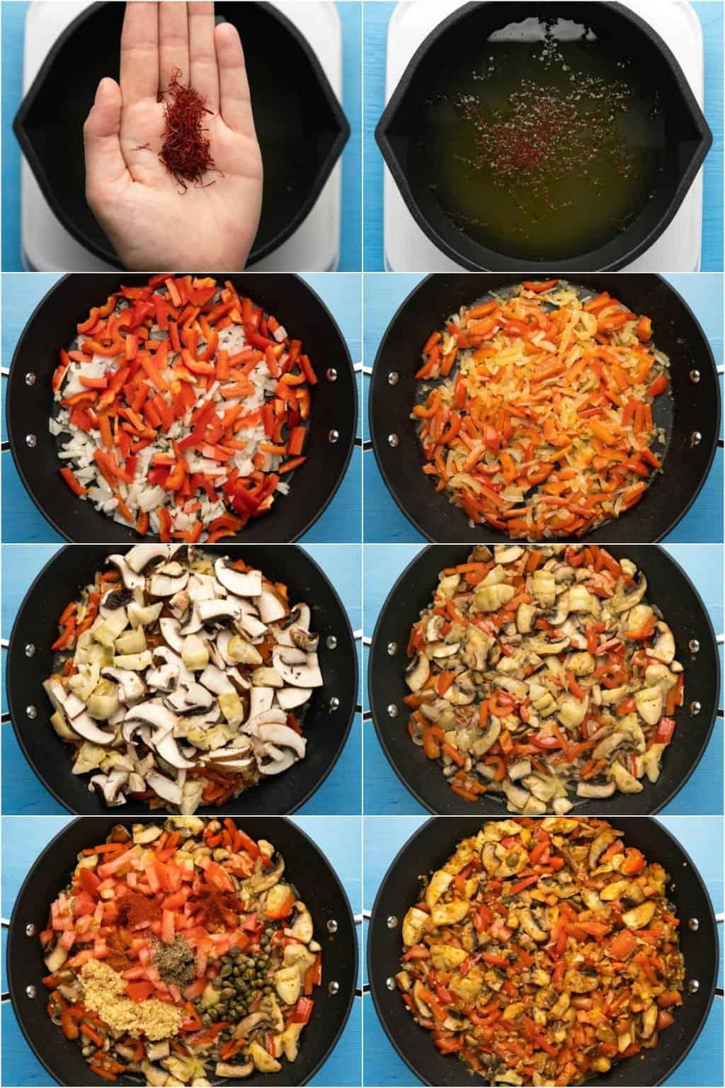 Step by step process photo collage of making vegan paella.
