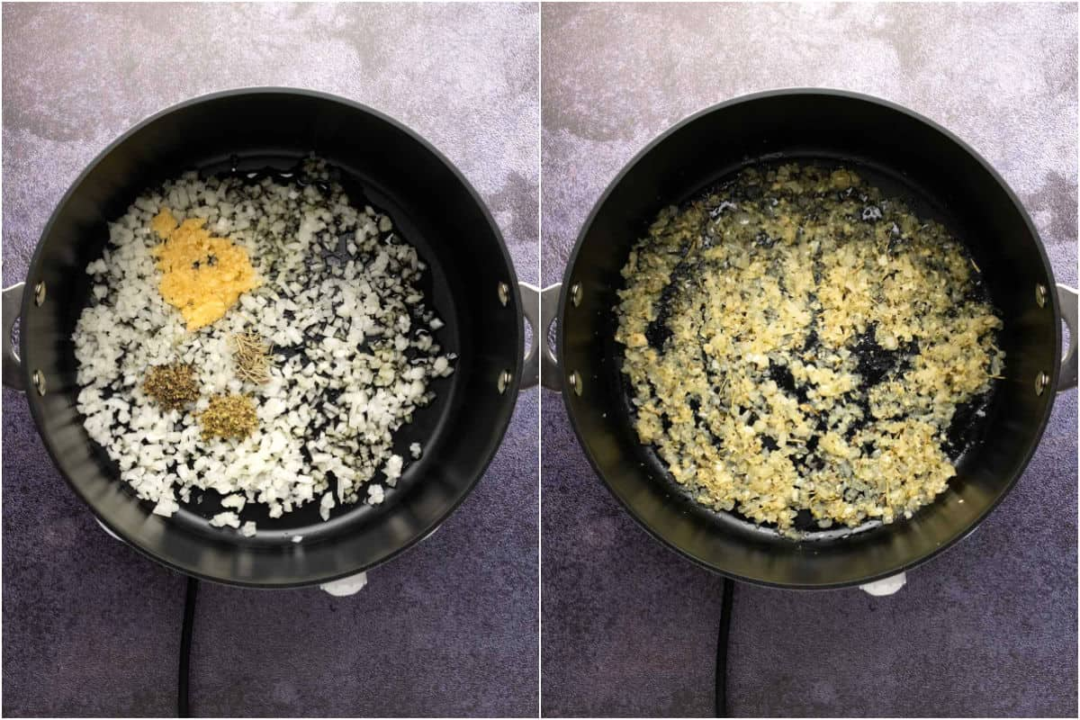 Two photo collage showing onions, garlic, olive oil and spices added to pot and sautéed.