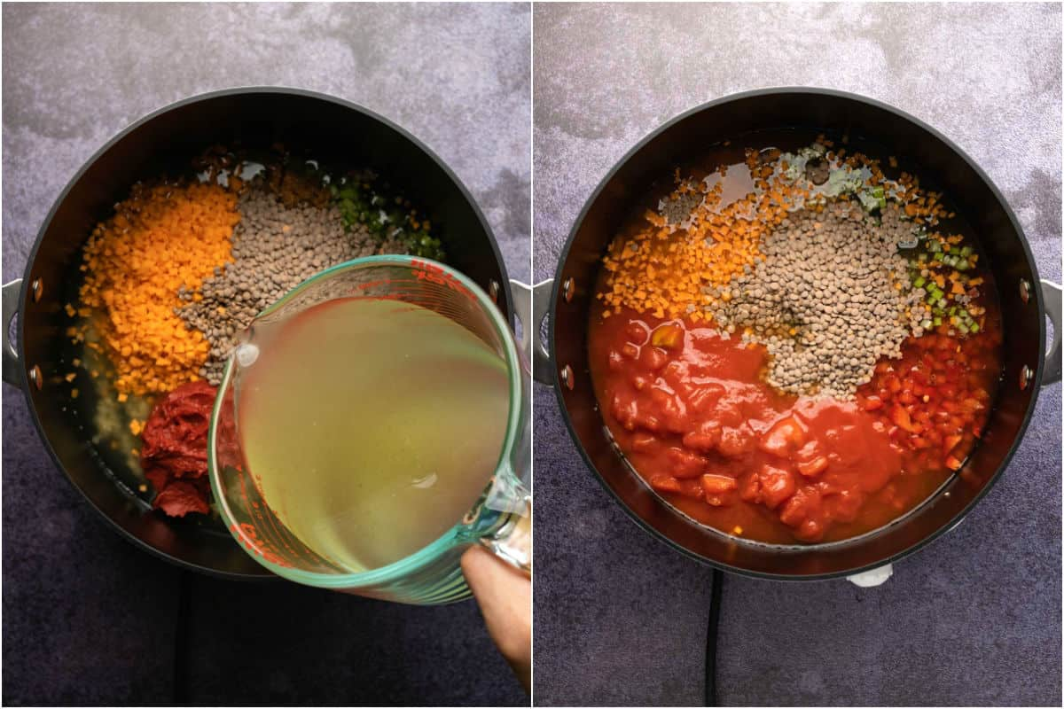 Two photo collage showing veggies, lentils, vegetable stock and chopped tomato added to pot.