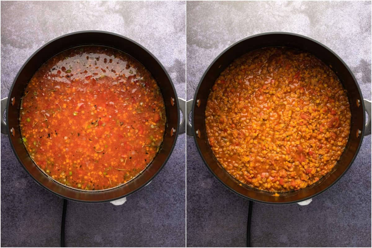 Two photo collage showing ingredients for lentil bolognese mixed together in a pot and then cooked.