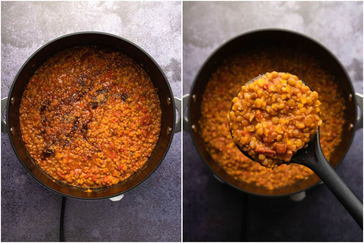 Two photo collage showing coconut sugar added to bolognese and mixed in.