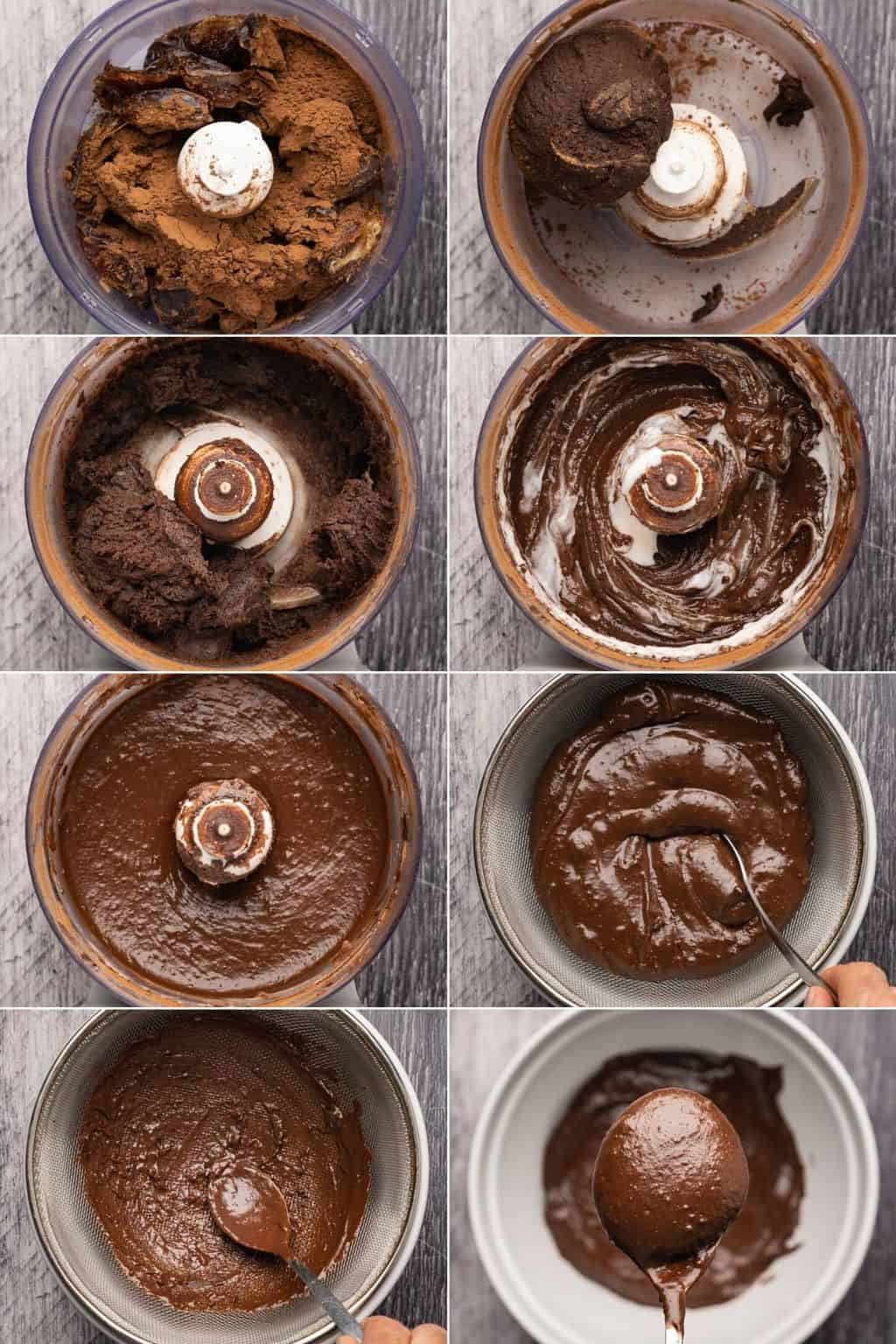 Step by step process photo collage of how to make vegan chocolate mousse.