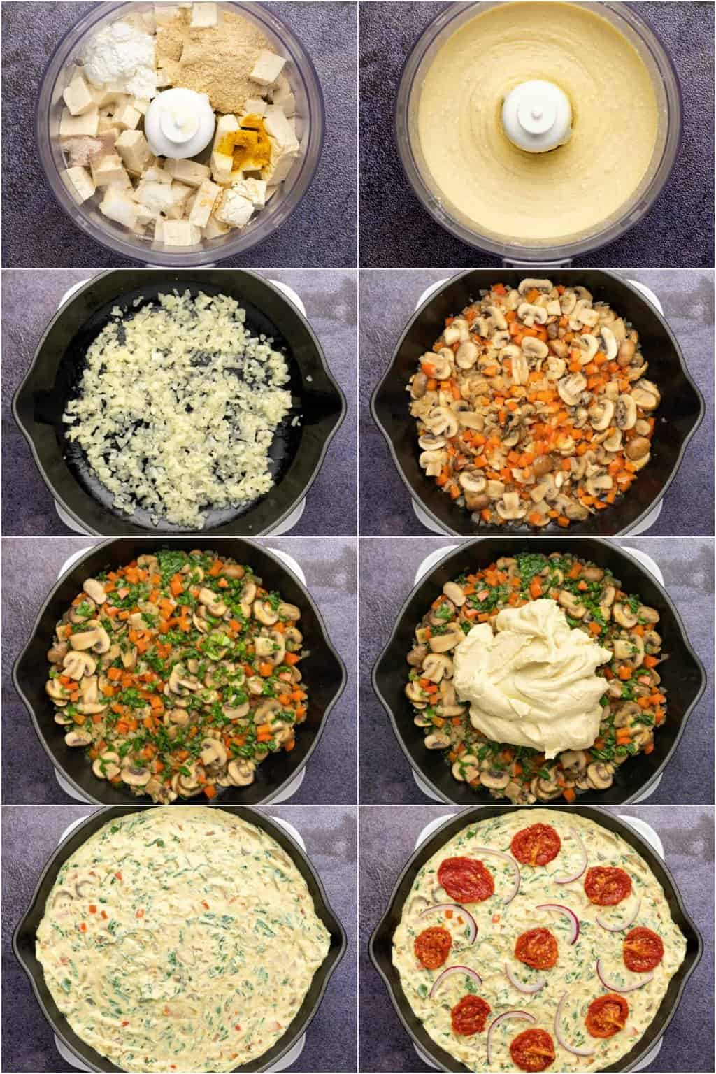 Step by step process photo collage of making a vegan frittata.