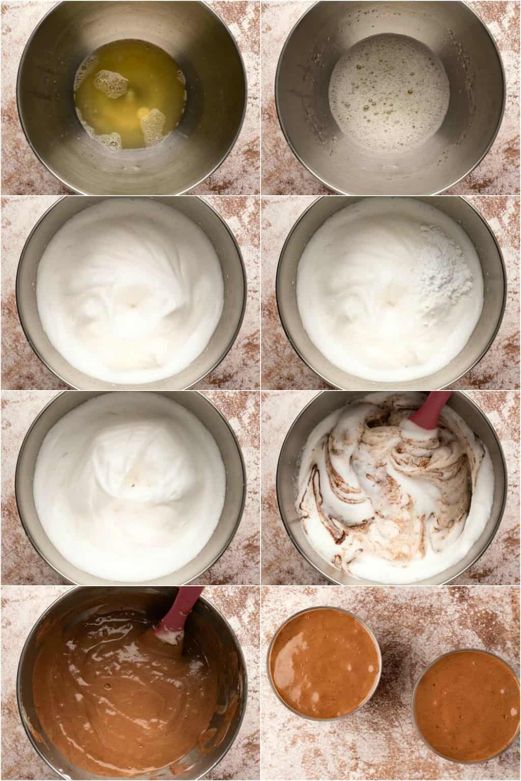 Step by step process photo collage of making vegan mousse with aquafaba.