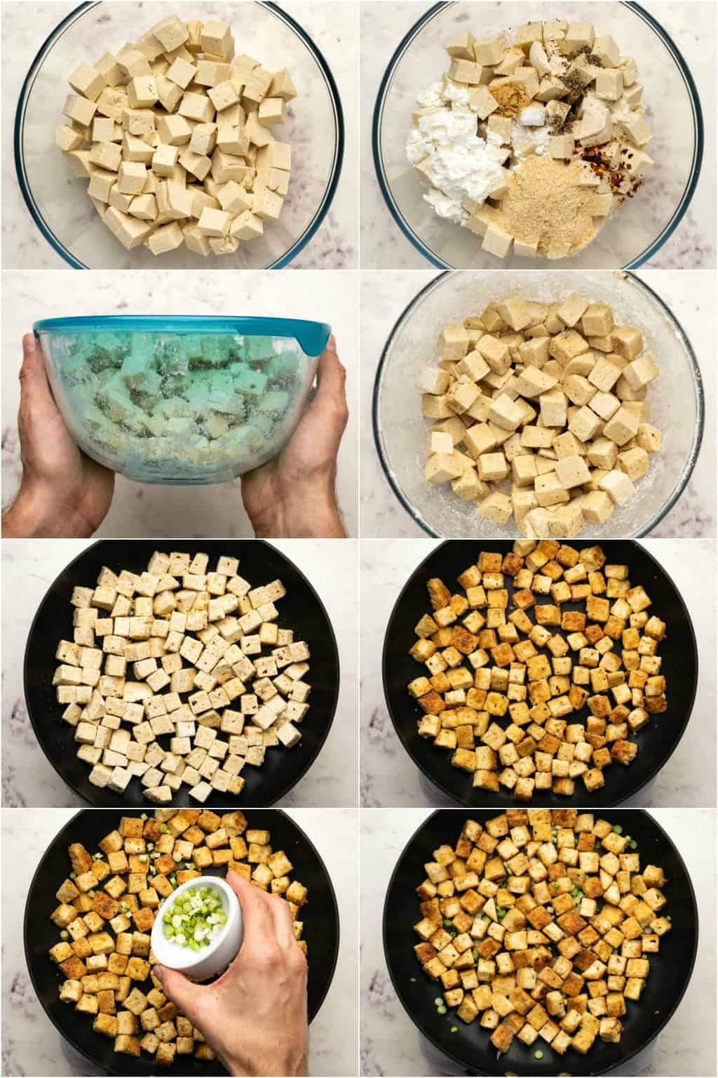 Step by step process photo collage of making crispy fried tofu.