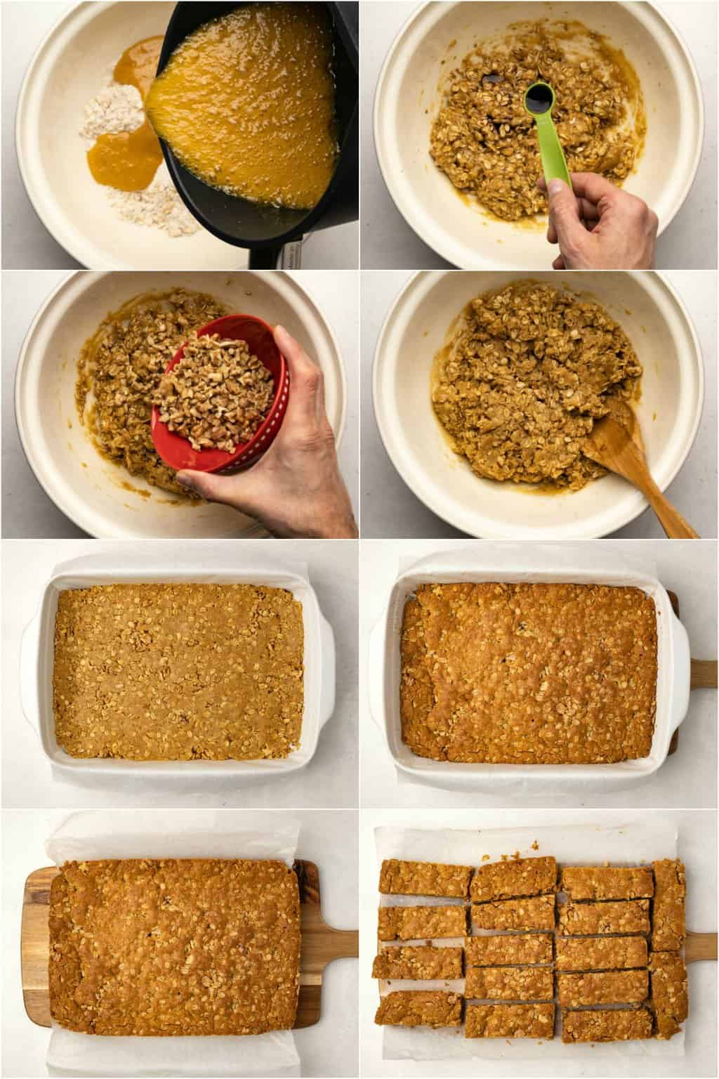Step by step process photo collage of making oatmeal bars.