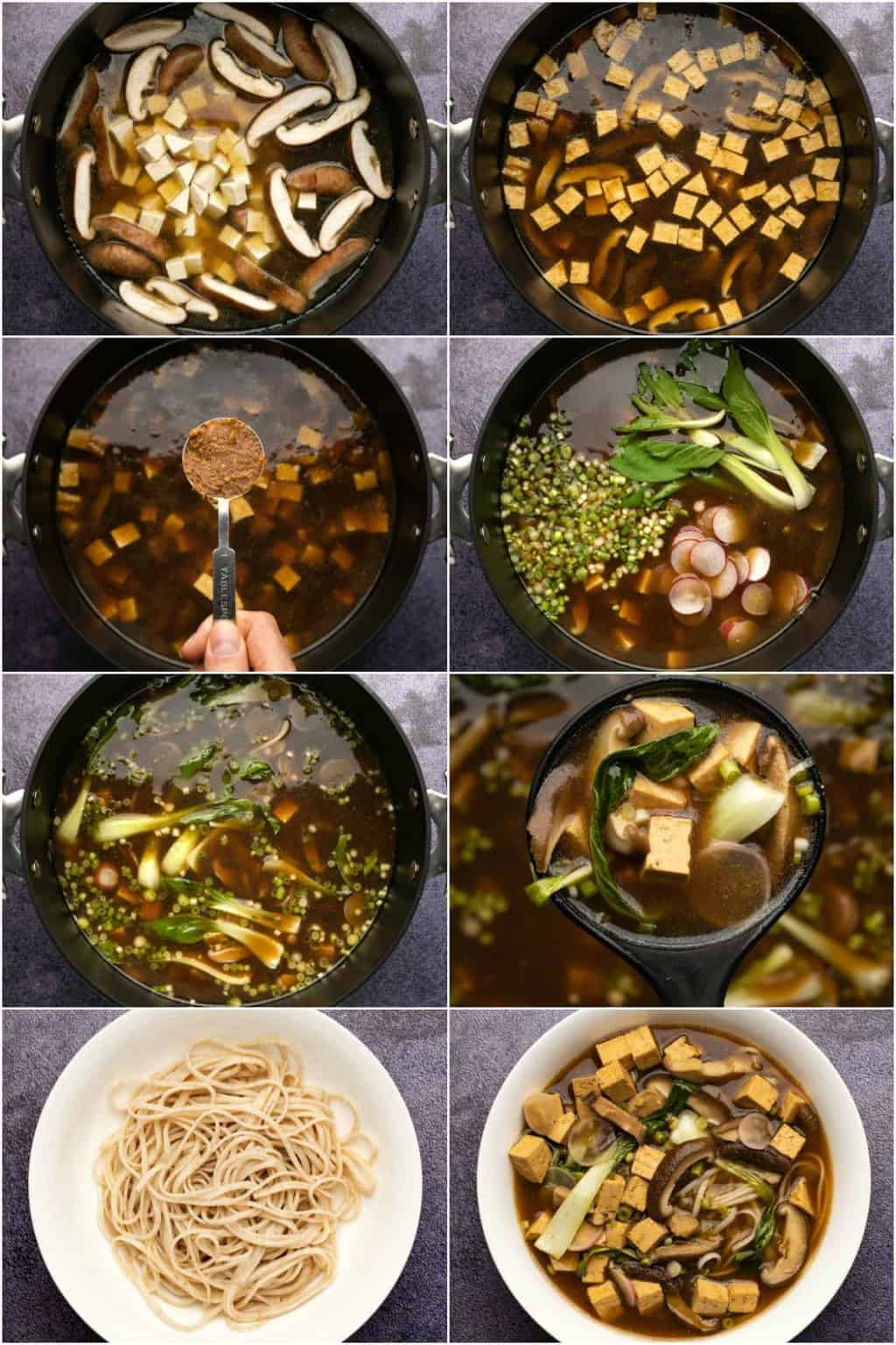 Step by step process photo collage of making vegan ramen.