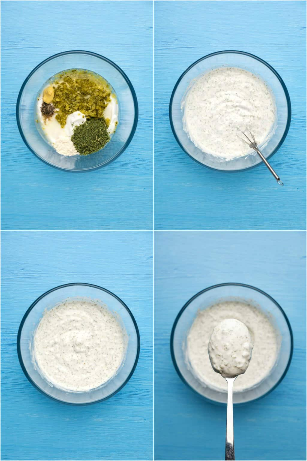 Step by step process photo collage for how to make vegan tartar sauce.