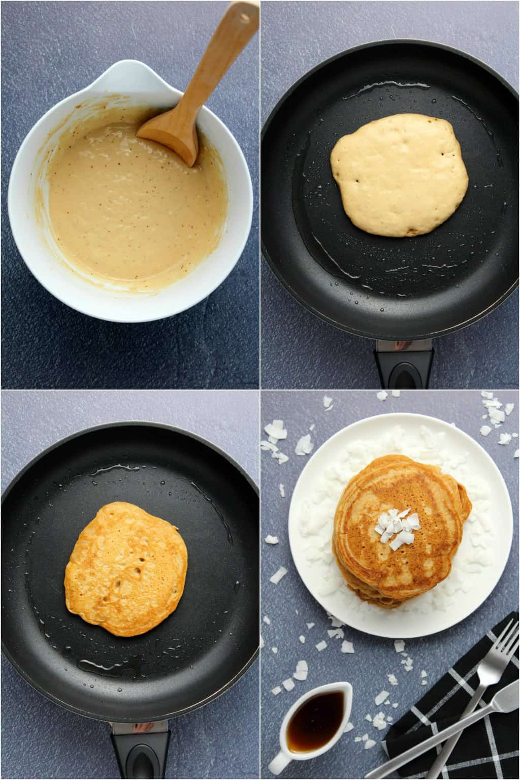 Step by step process photo collage of making vegan coconut pancakes.