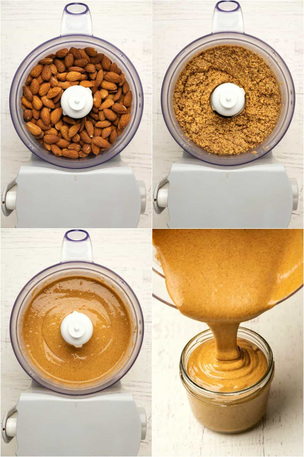 Step by step process photo collage of making almond butter.
