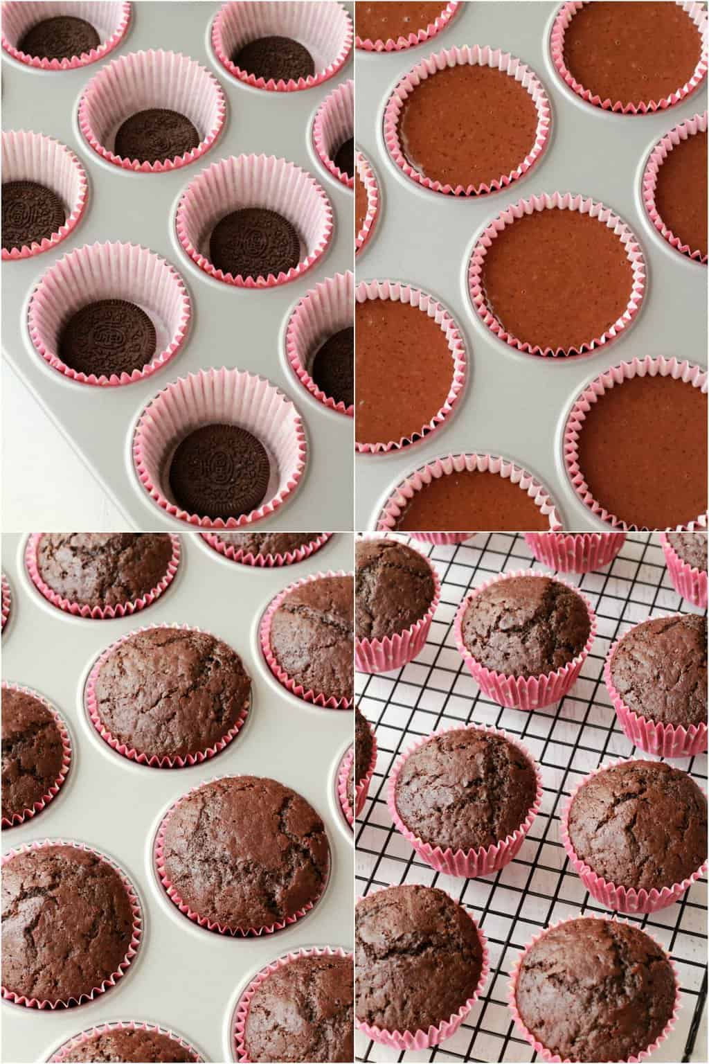 Step by step process photo collage of making vegan oreo cupcakes.