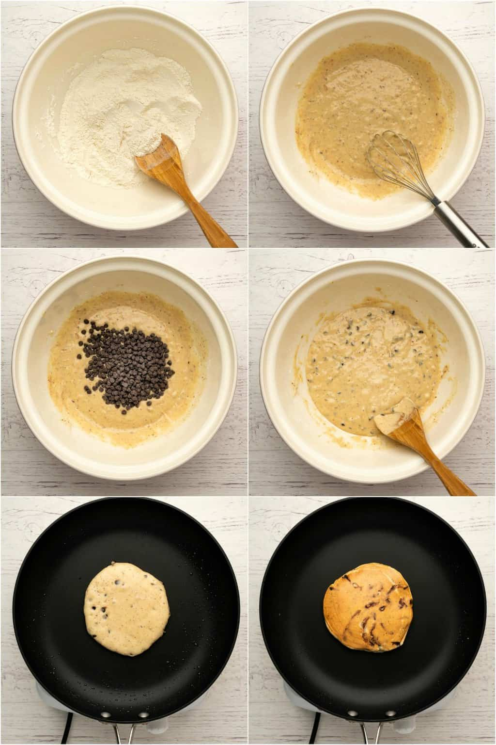 Step by step process photo collage of making vegan peanut butter pancakes.