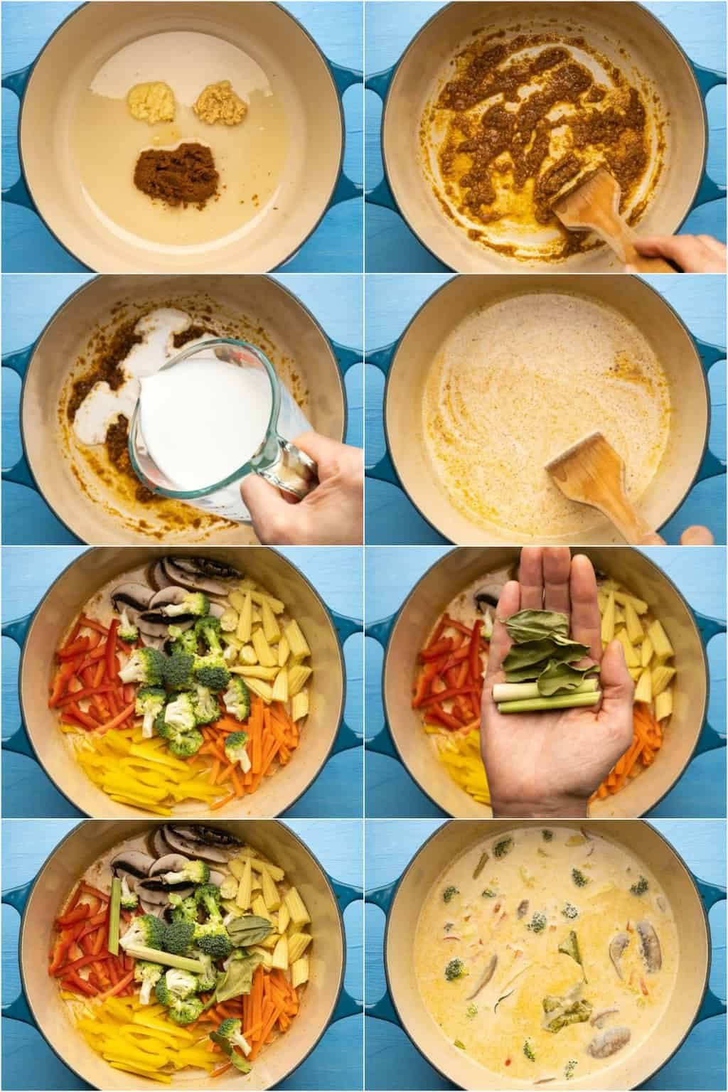 Step by step process photo collage of making a thai red curry.