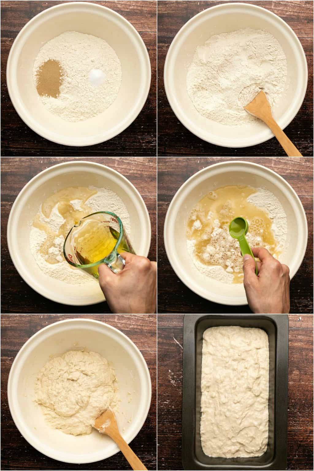 Step by step process photo collage of making the dough for bread.