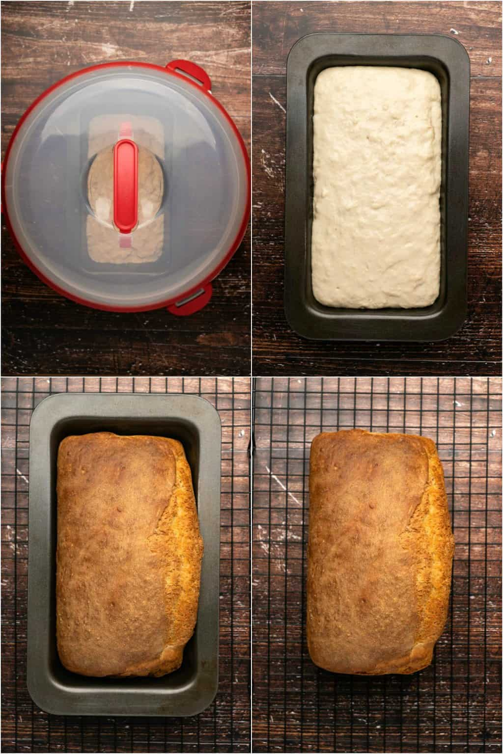 Step by step process photo collage of making white bread.