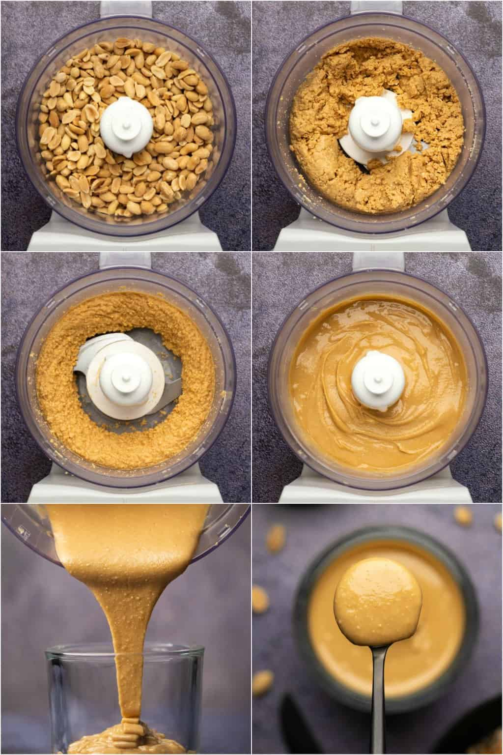 Step by step process photo collage of making homemade peanut butter.