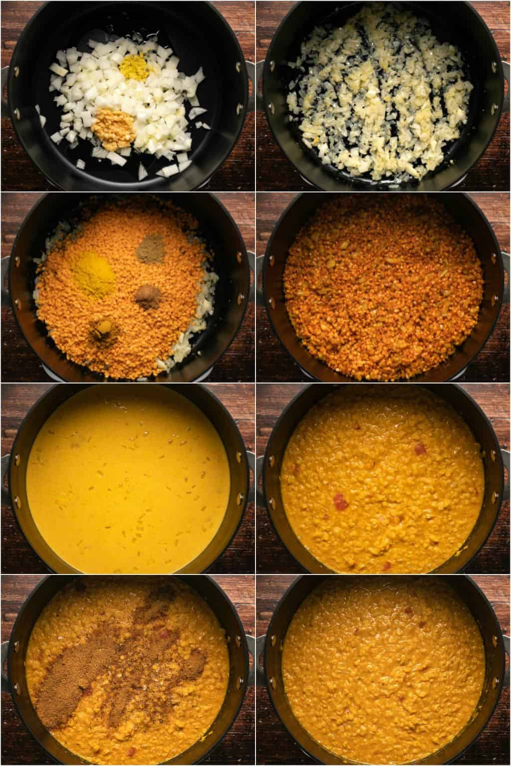 Step by step process photo collage of making a red lentil dal.