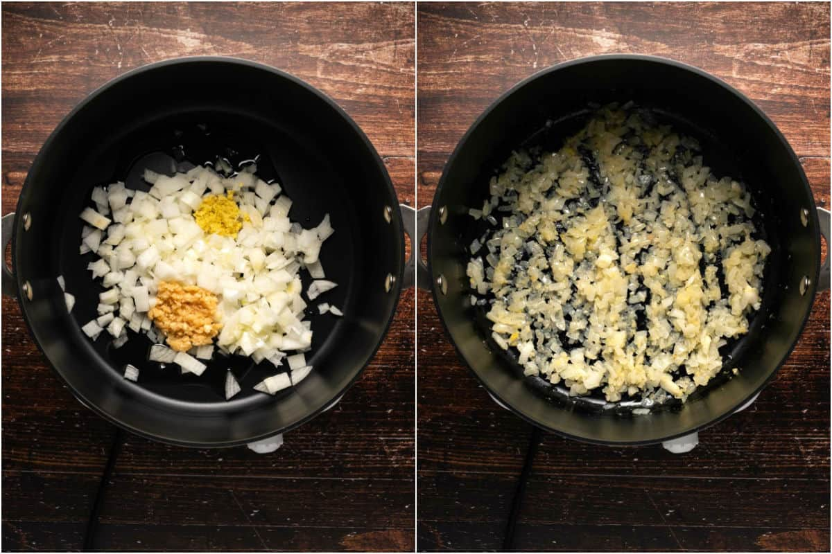 Collage of two photos showing onions, garlic and ginger added to pot with olive oil and sautéed until softened.