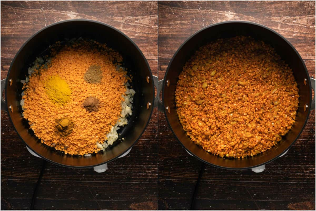 Two photo collage showing dried lentils and spices added to pot and tossed with the onions.