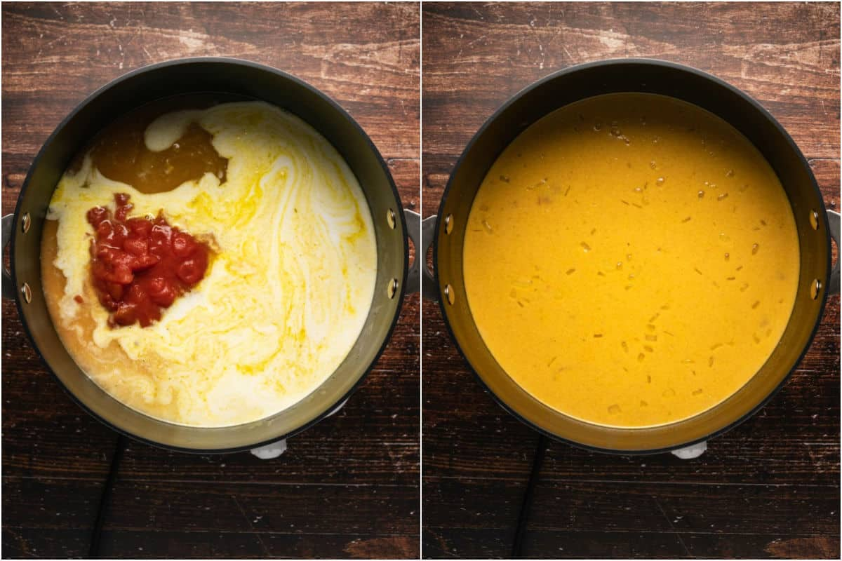 Two photo collage showing canned chopped tomato, vegetable stock and coconut milk added to pot and mixed in.