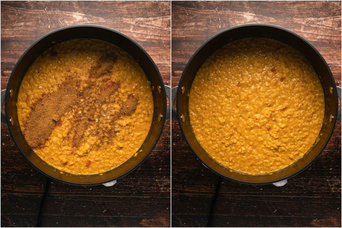 Two photo collage showing coconut sugar added to pot and mixed in.