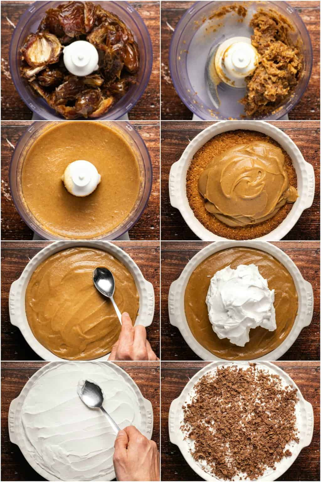 Step by step process photo collage of making a vegan caramel pie.