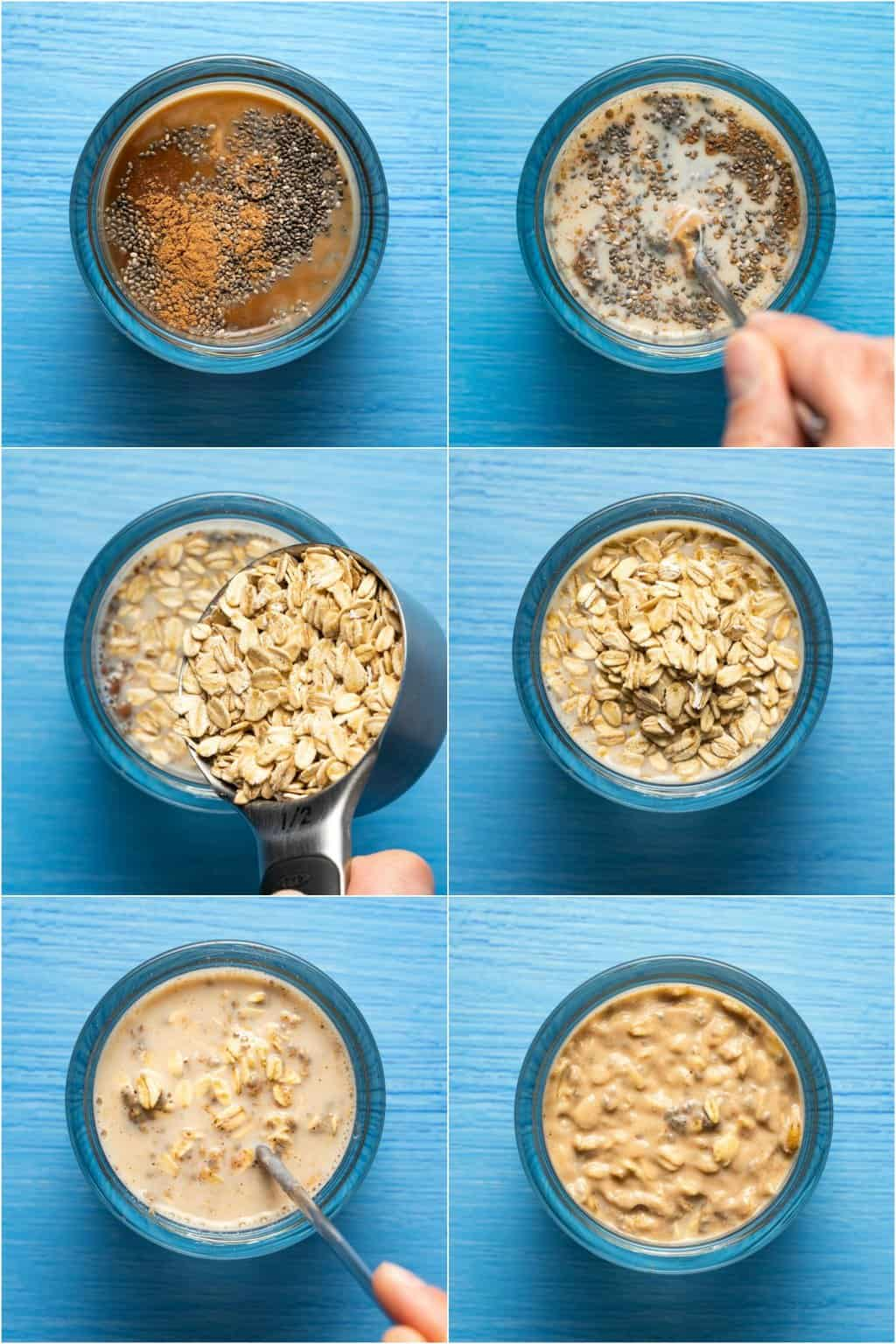 Step by step process photo collage of making overnight oats.