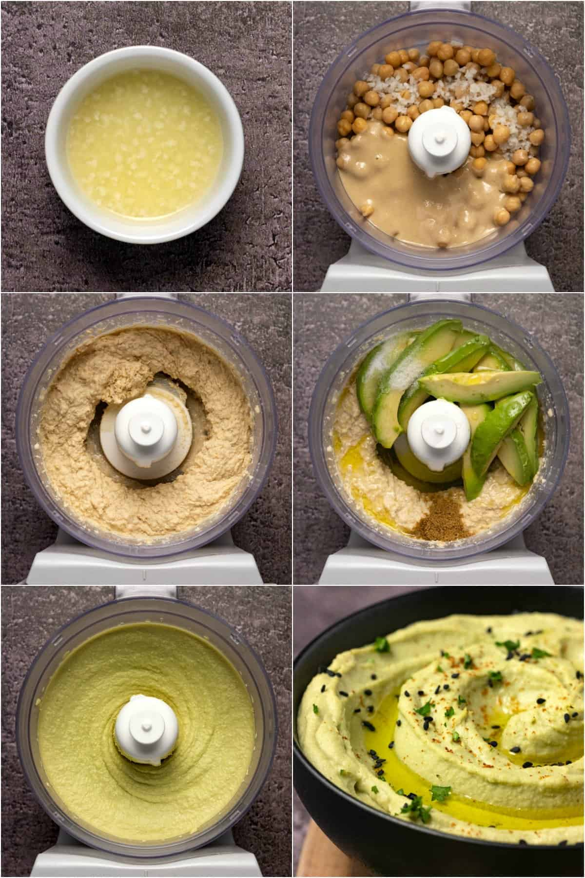 Step by step process photo collage of making avocado hummus.