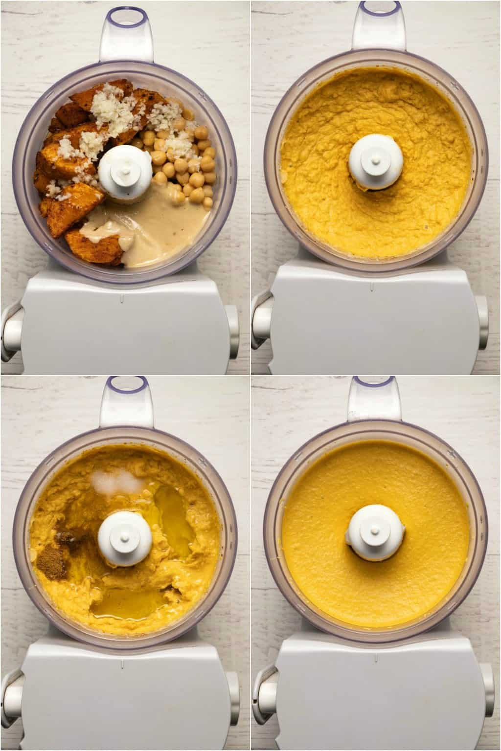 Step by step process photo collage of making butternut squash hummus.