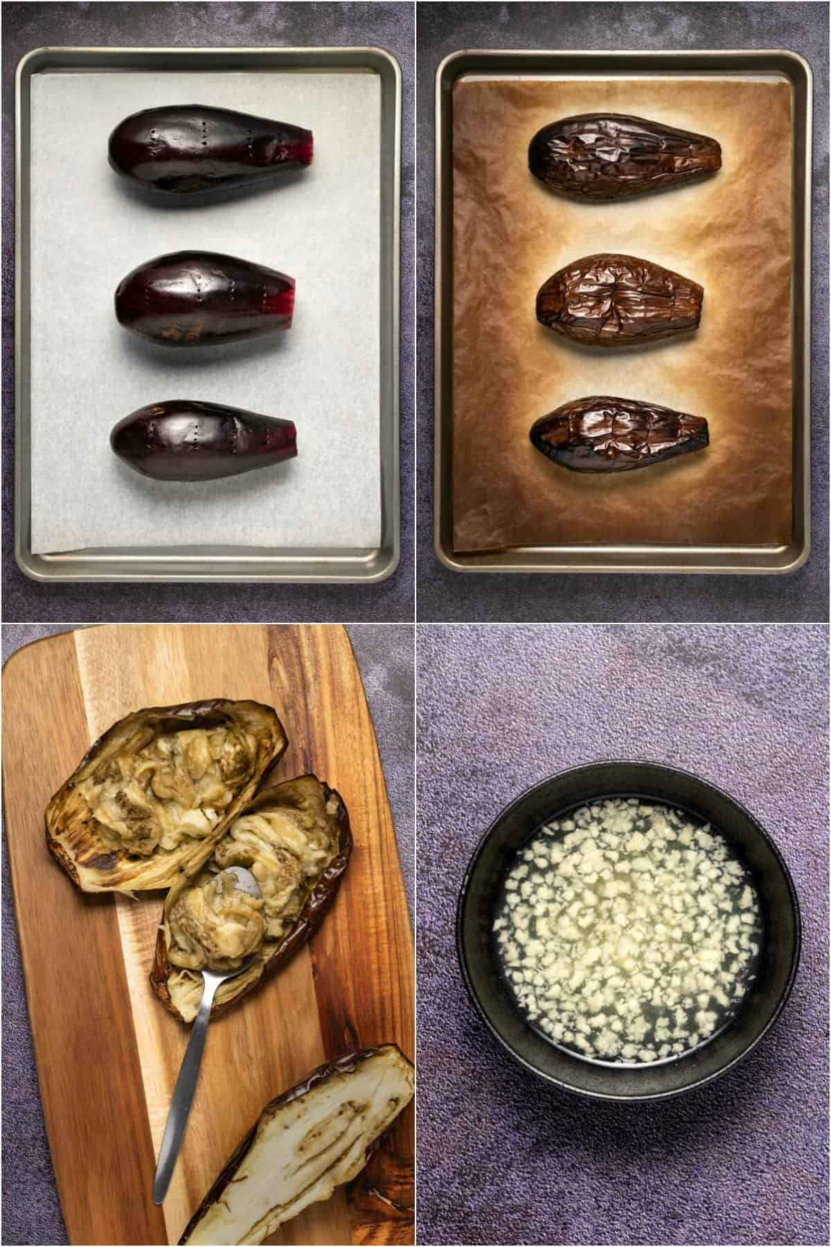Step by step process photo collage of baking eggplant.