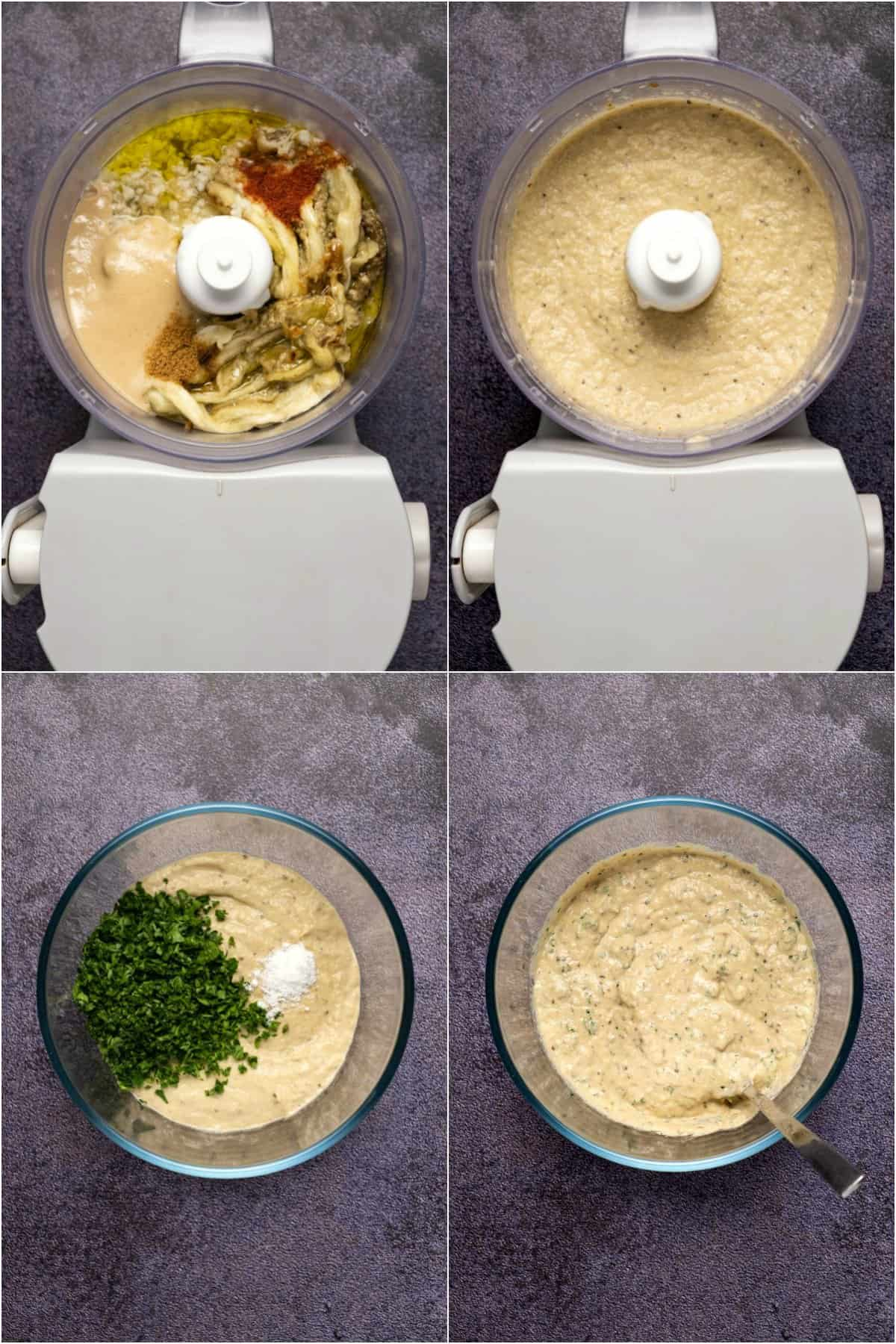 Step by step photo collage of making eggplant dip.