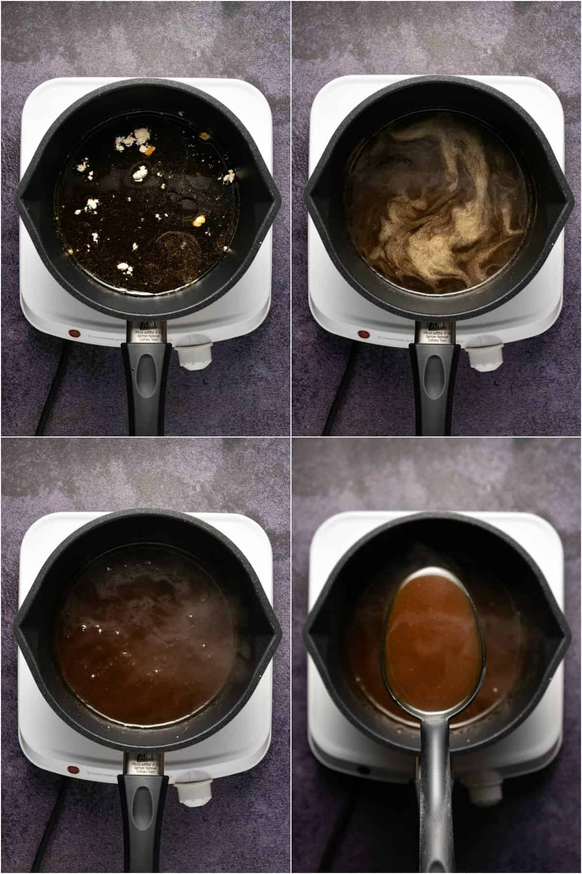 Step by step process photo collage of making teriyaki sauce.