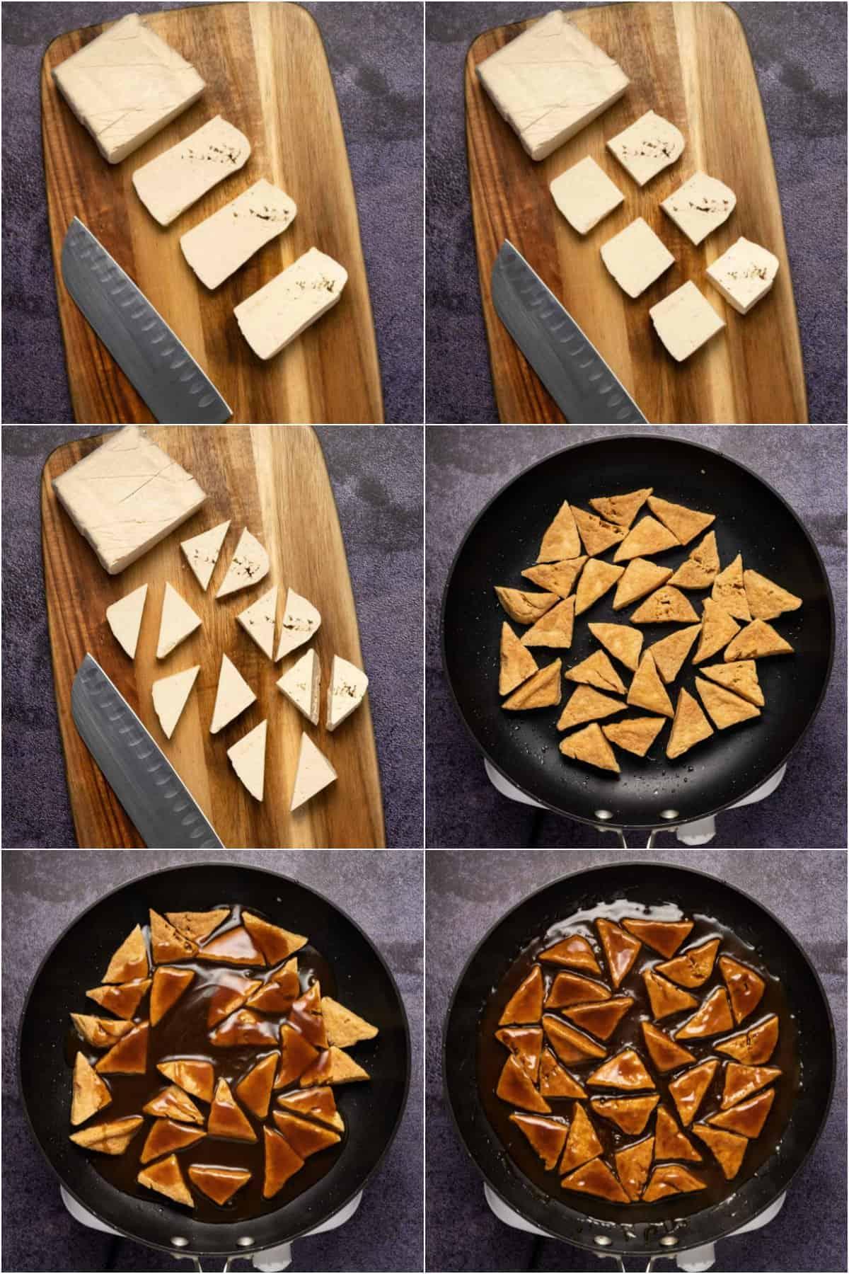 Step by step process photo collage of making teriyaki tofu.