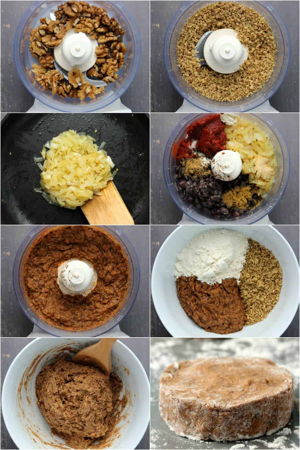 Step by step process photo collage of making black bean burgers.