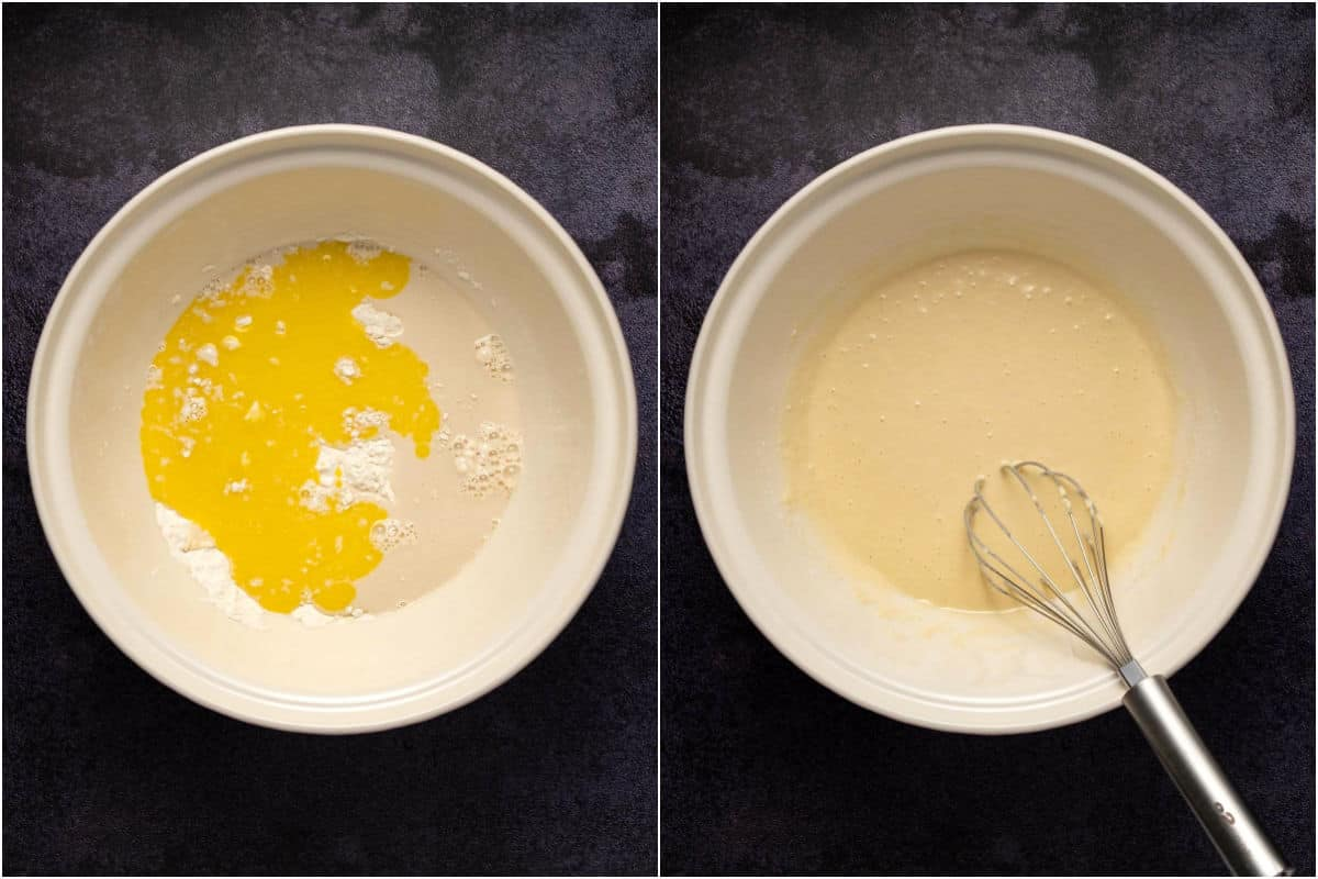 Two photo collage showing wet ingredients added to dry and mixed into a pancake batter.