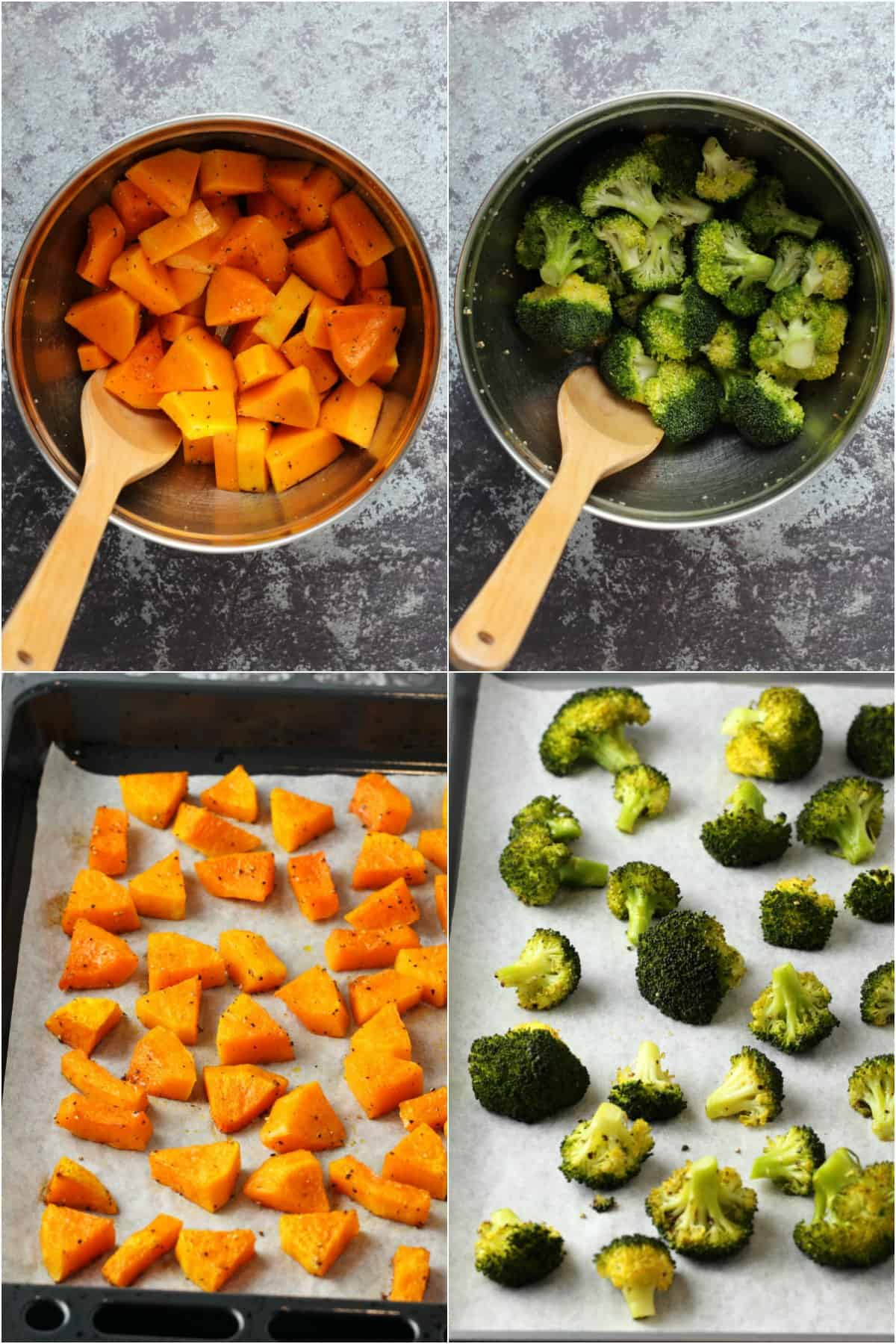 Step by step process photo collage of preparing and baking butternut squash and broccoli.