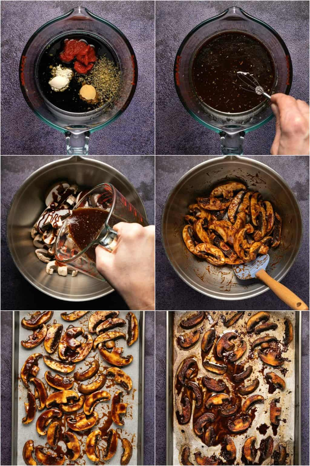 Step by step process photo collage of marinating and baking mushrooms for a poke bowl.