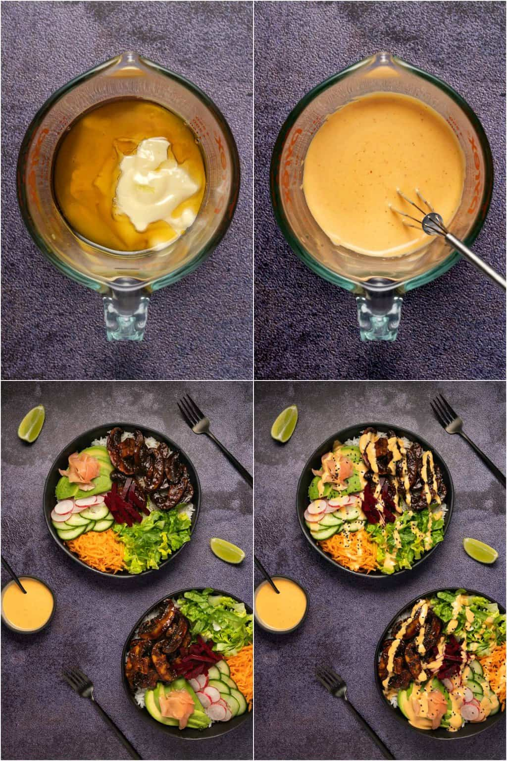 Step by step photo collage of assembling vegan poke bowls.