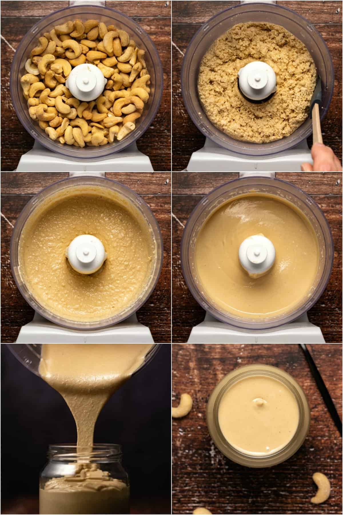 Step by step process photo collage of making cashew butter.