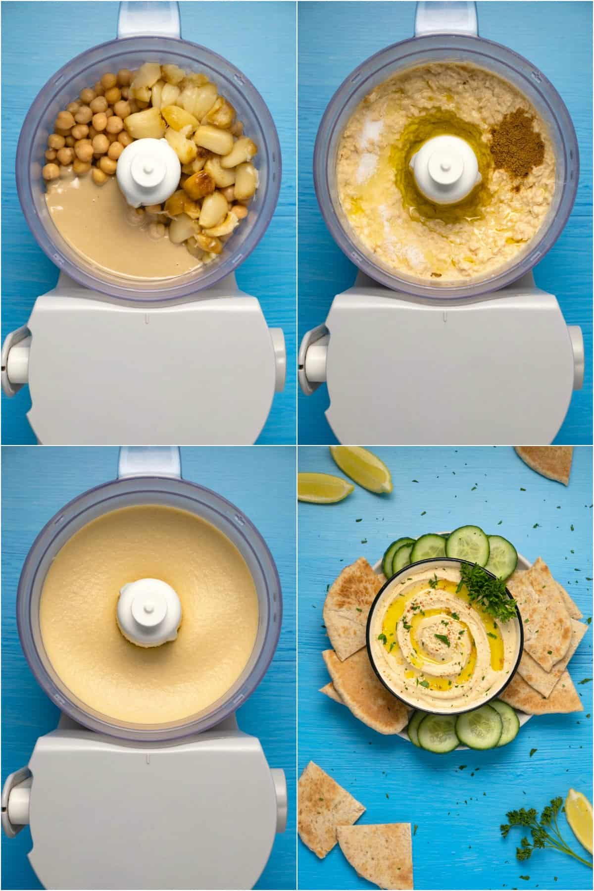Step by step process photo collage of making roasted garlic hummus.