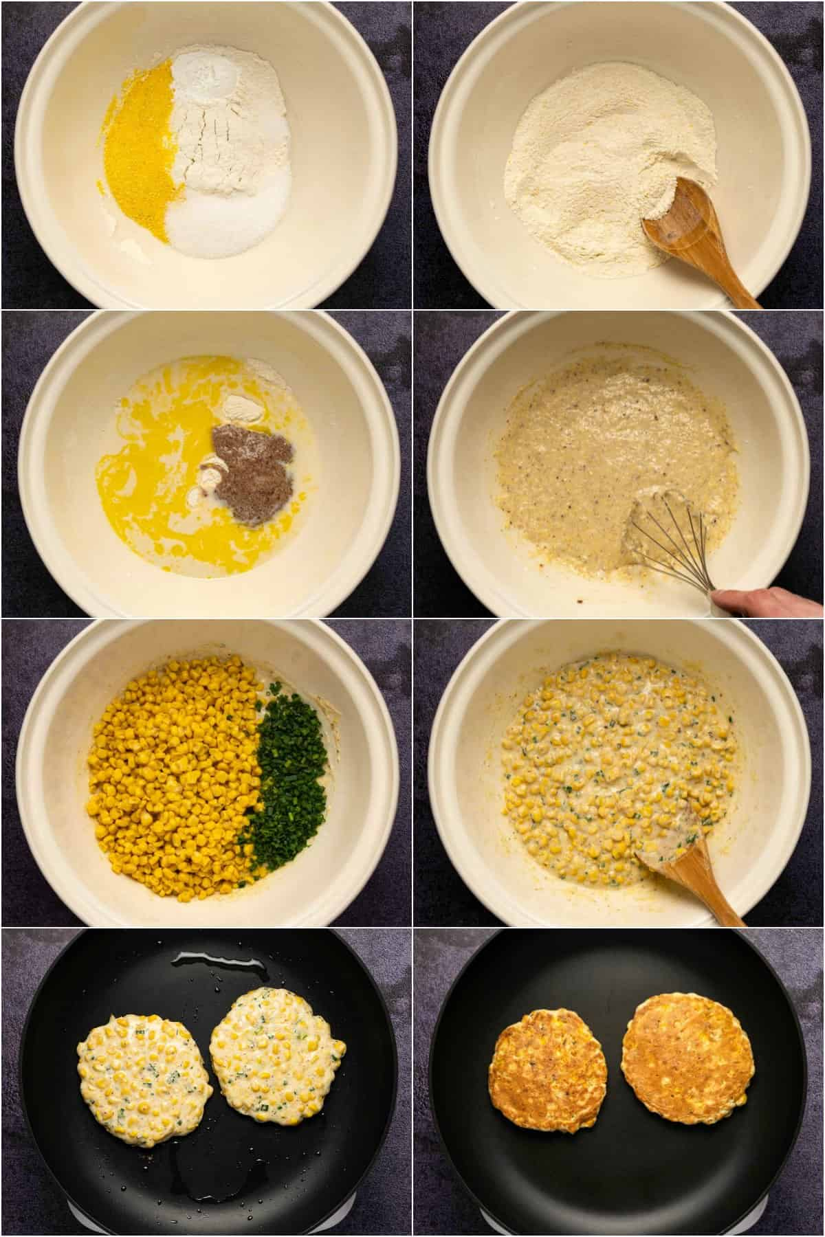 Step by step process photo collage of making vegan corn fritters.
