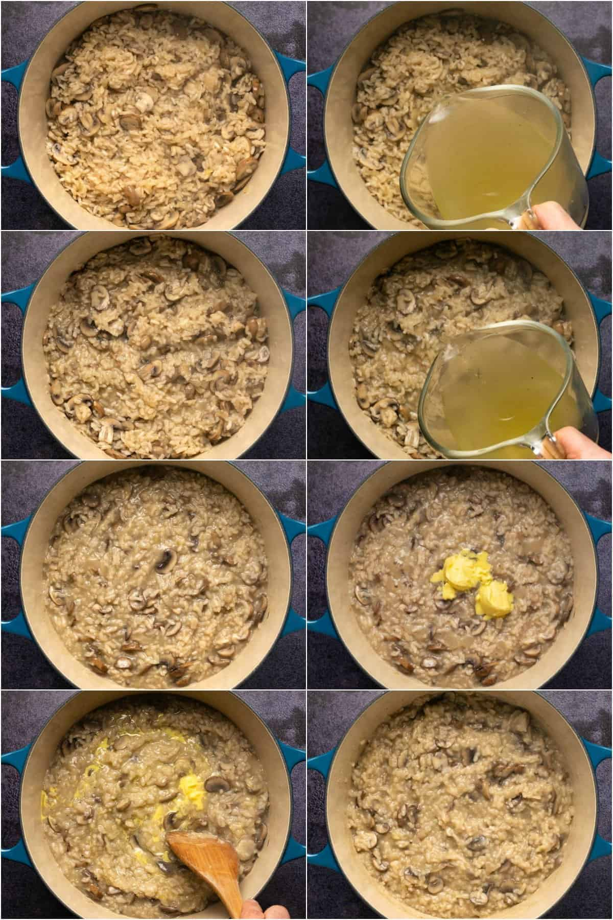 Step by step process photo collage of making vegan mushroom risotto.