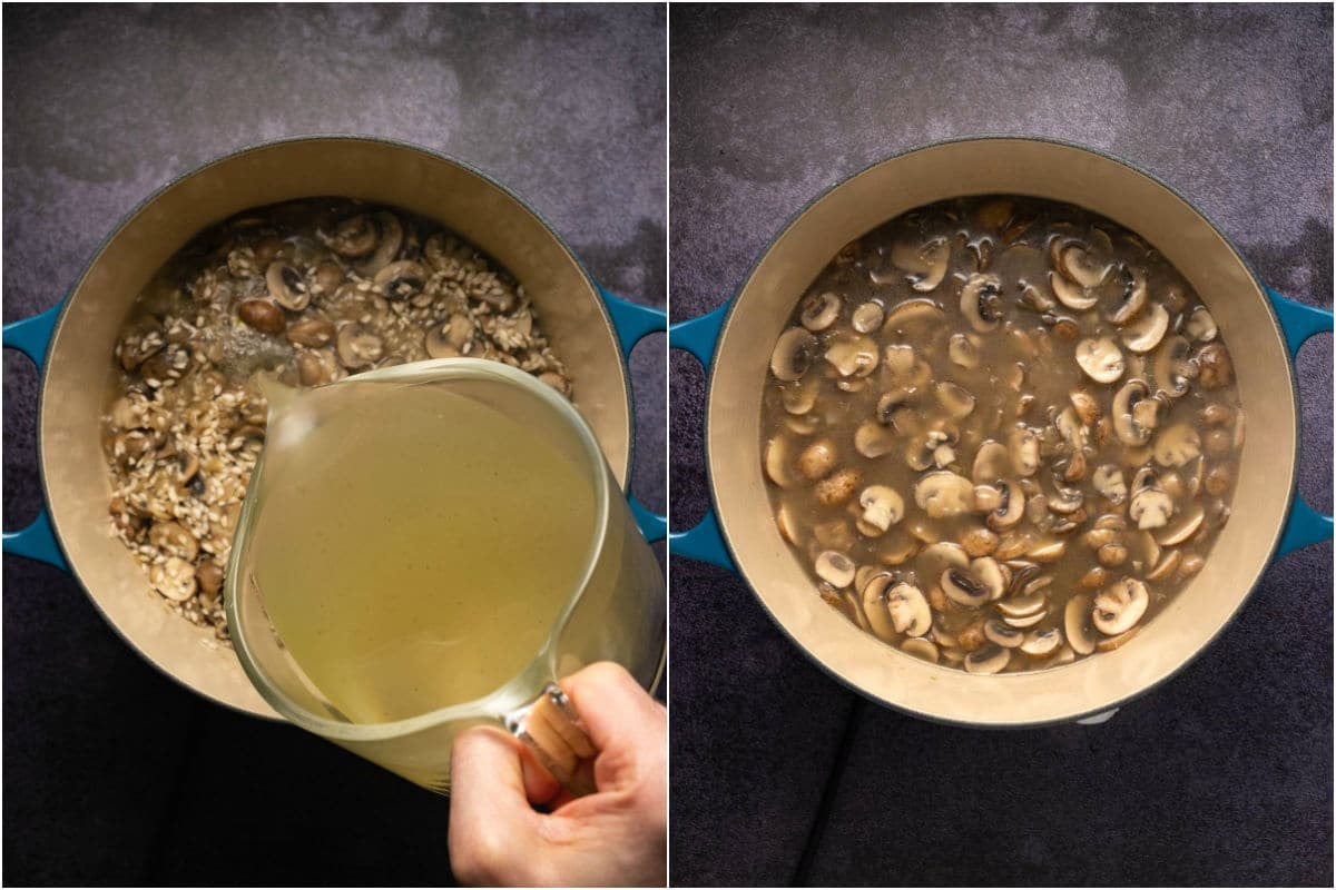 Two photo collage showing first vegetable stock added to pot and mixed in.