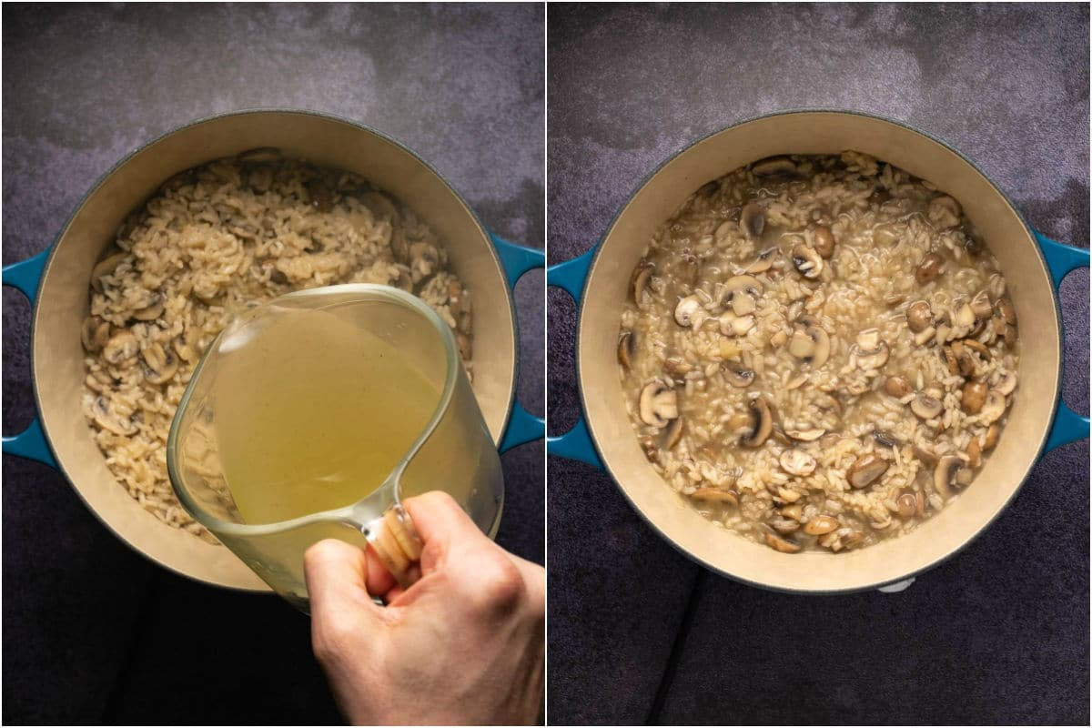 Two photo collage showing second vegetable stock added to pot and mixed in.
