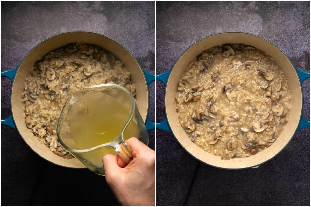 Two photo collage showing third vegetable stock added to pot and mixed in.