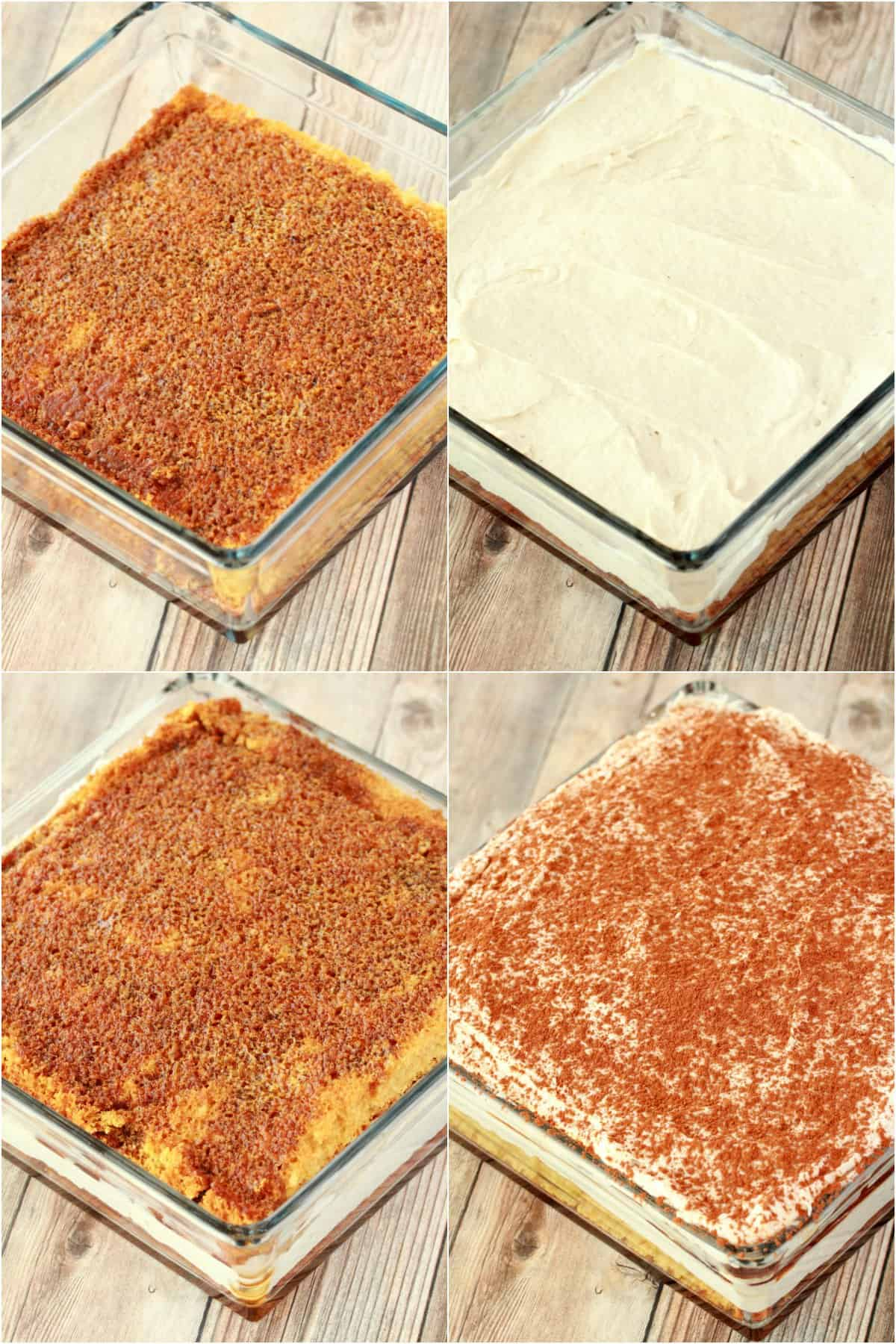 Step by step process photo collage of assembling vegan tiramisu.