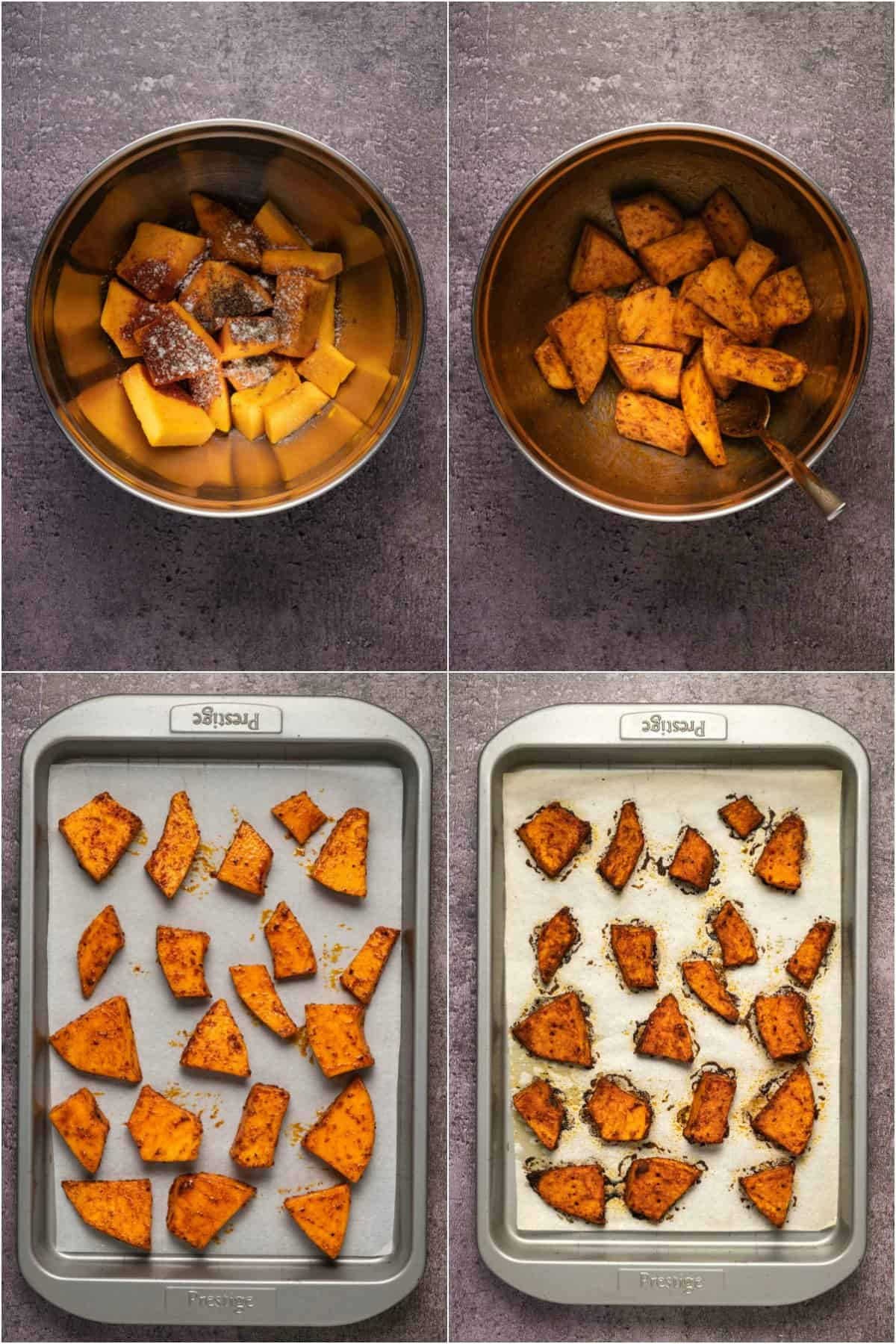 Step by step process photo collage of making roasted pumpkin for pumpkin hummus.